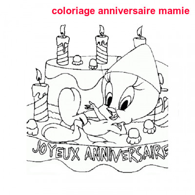 Coloriage Anniversaire Mamie