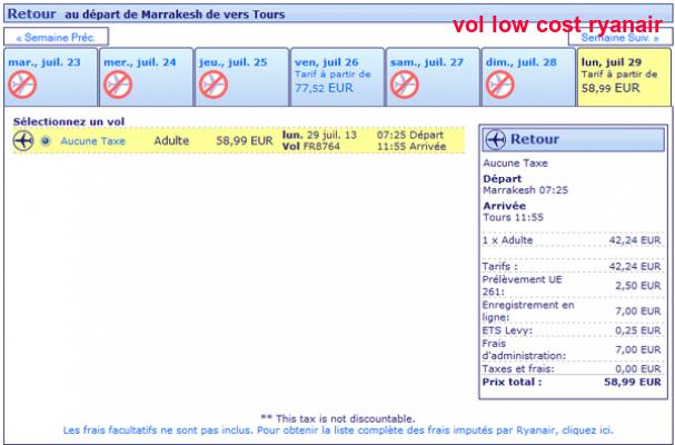 Vol Low Cost Ryanair