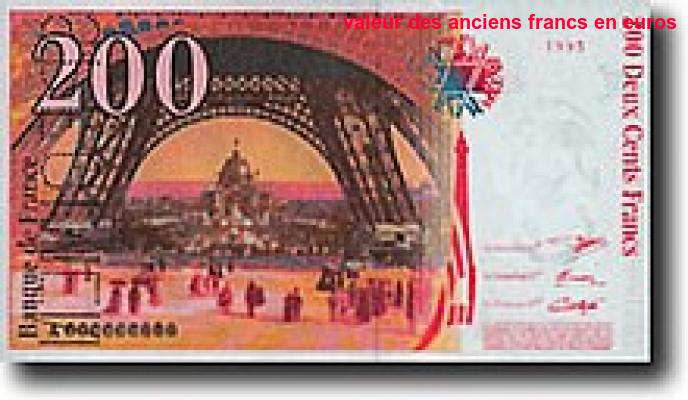 Valeur Des Anciens Francs En Euros