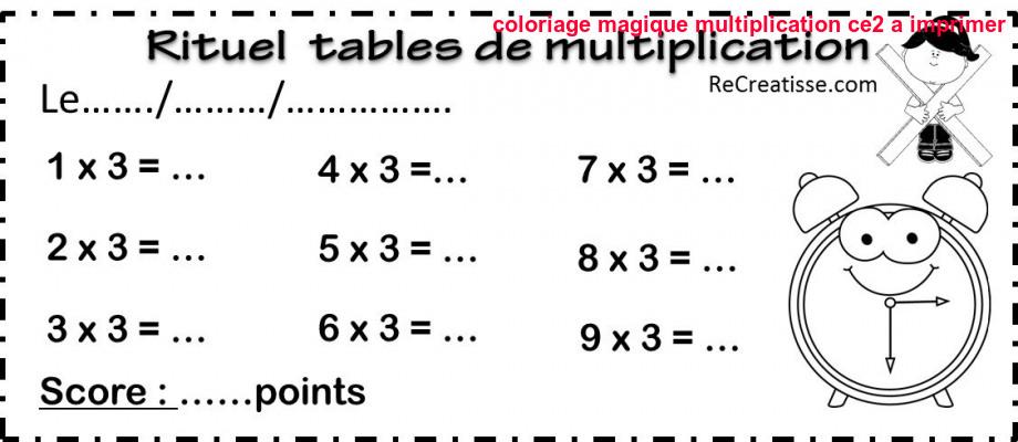 Coloriage Magique Multiplication Ce2 A Imprimer